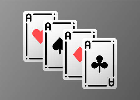 Combination ace playing cards olor line icon set. Gambling. Pictograms for web page, mobile app, promo. UI UX GUI design element. Editable stroke. 矢量图片