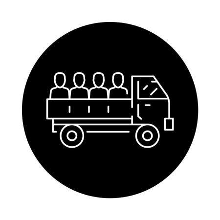 Truck transportation illegal immigrants color line icon. Sign for web page, mobile app, button, logo. Editable stroke.