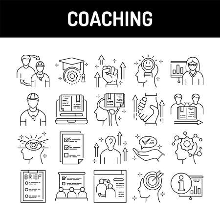 Coaching color line icons set. Signs for web page, mobile app, button, logo. Editable stroke.