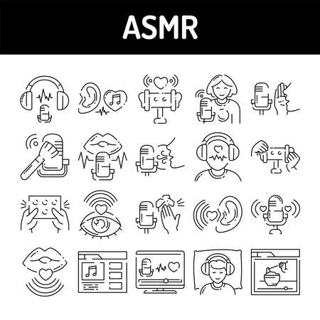 Asmr color line icons set. Autonomous sensory meridian response, sound waves as a symbol of enjoying sounds, whisper and music. Signs for web page, mobile app, button, logo. Editable stroke.