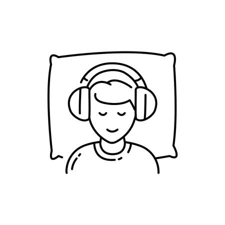 Listen to sleep music color line icon. Asmr. Autonomous sensory meridian response, sound waves as a symbol of enjoying sounds, whisper and music. Sign for web page, mobile app, button, logo. Editable stroke.