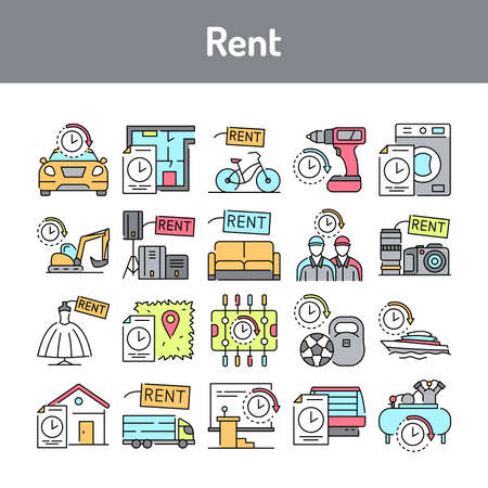 Rent line icons set. Isolated vector element. Outline pictograms for web page, mobile app, promo. Editable stroke.