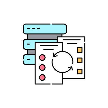 Data verification olor line icon. ID and verifying person. Pictogram for web page, mobile app, promo. UI UX GUI design element. Editable stroke. Ilustración de vector