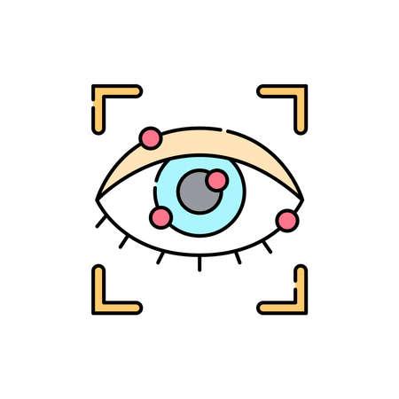 Eye scan olor line icon. ID and verifying person. Pictogram for web page, mobile app, promo. UI UX GUI design element. Editable stroke. Ilustración de vector