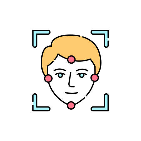 Face identification olor line icon. ID and verifying person. Pictogram for web page, mobile app, promo. UI UX GUI design element. Editable stroke.