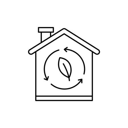 Eco house color line icon. Pictogram for web page, mobile app, promo. UI UX GUI design element. Editable stroke.