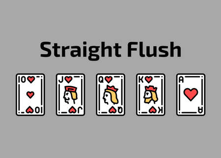 Combination straight flush playing cards olor line icon set. Gambling. Pictograms for web page, mobile app, promo. UI UX GUI design element. Editable stroke.