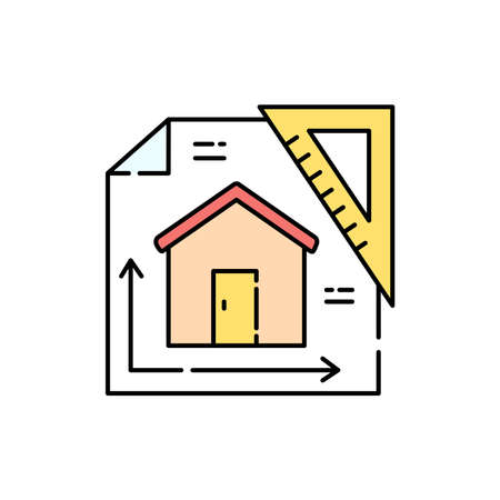 Architectural project house color line icon. Pictogram for web page, mobile app, promo. UI UX GUI design element. Editable stroke.