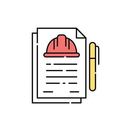 Estimate documentation color line icon. Pictogram for web page, mobile app, promo. UI UX GUI design element. Editable stroke.
