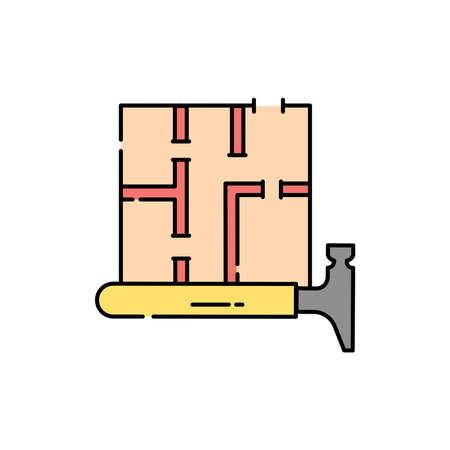 Erection partitions at home color line icon. Pictogram for web page, mobile app, promo. UI UX GUI design element. Editable stroke. Векторная Иллюстрация