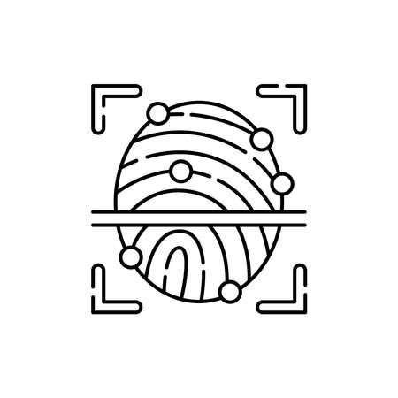 Fingerprint scan olor line icon. ID and verifying person. Pictogram for web page, mobile app, promo. UI UX GUI design element. Editable stroke.