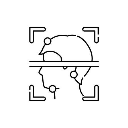 Face identification olor line icon. ID and verifying person. Pictogram for web page, mobile app, promo. UI UX GUI design element. Editable stroke. Ilustración de vector