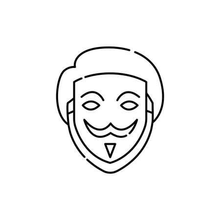 Fake face olor line icon. ID and verifying person. Pictogram for web page, mobile app, promo. UI UX GUI design element. Editable stroke. Ilustración de vector