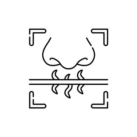 Smell identification olor line icon. ID and verifying person. Pictogram for web page, mobile app, promo. UI UX GUI design element. Editable stroke.