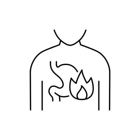 Heartburn olor line icon. Pictogram for web page, mobile app, promo. UI UX GUI design element. Editable stroke. 向量圖像