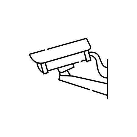 Surveillance camera olor line icon. Pictogram for web page, mobile app, promo. UI UX GUI design element. Editable stroke. 向量圖像