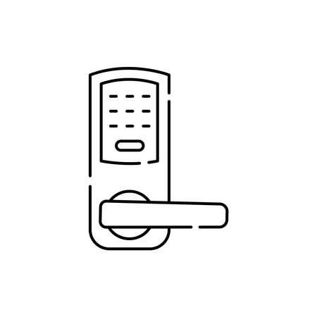 Combination lock olor line icon. Pictogram for web page, mobile app, promo. UI UX GUI design element. Editable stroke.