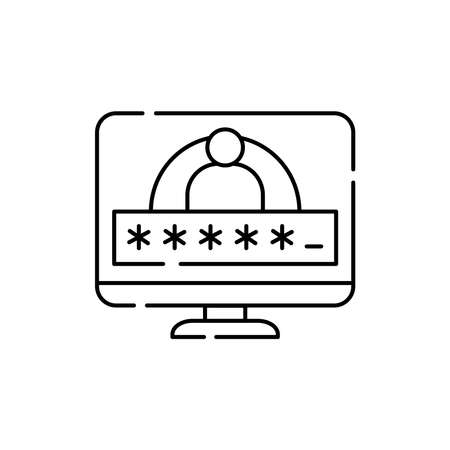 Computer and account login and password olor line icon. Pictogram for web page, mobile app, promo. UI UX GUI design element. Editable stroke.