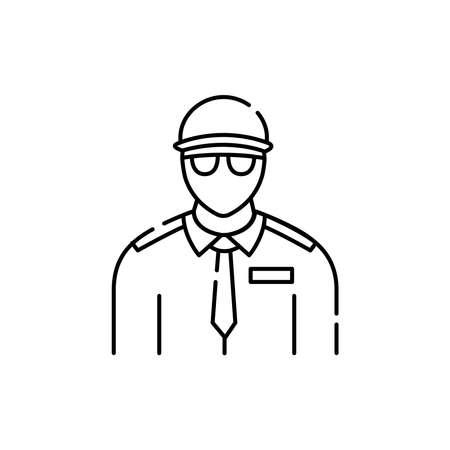 Security guard olor line icon. Pictogram for web page, mobile app, promo. UI UX GUI design element. Editable stroke. 向量圖像