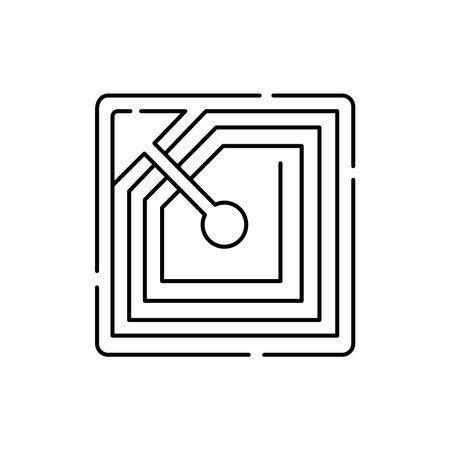 RFID tag olor line icon. Pictogram for web page, mobile app, promo. UI UX GUI design element. Editable stroke.