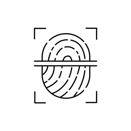 Fingerprint scan olor line icon. Pictogram for web page, mobile app, promo. UI UX GUI design element. Editable stroke. 向量圖像