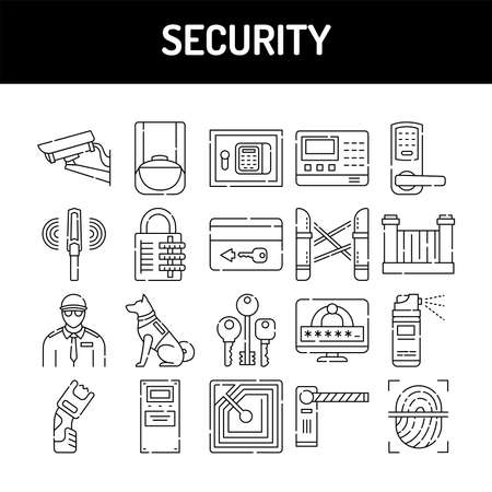 Security line icons set. Isolated vector element. Outline pictograms for web page, mobile app, promo. Editable stroke.