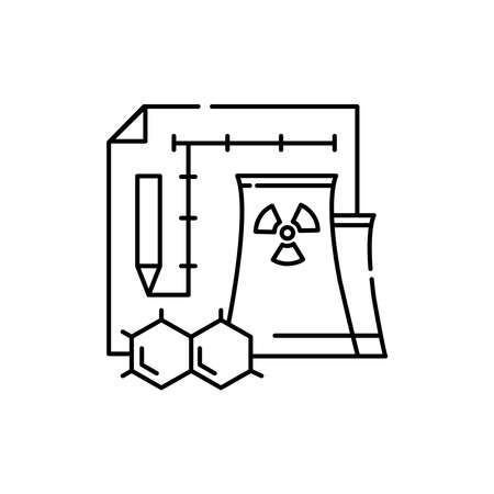 Nuclear engineering olor line icon. Pictogram for web page, mobile app, promo. UI UX GUI design element. Editable stroke.