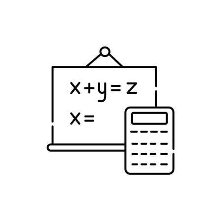 Mathematics olor line icon. Pictogram for web page, mobile app, promo. UI UX GUI design element. Editable stroke.
