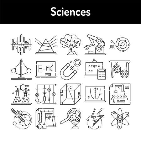 Sciences color line icons set. Signs for web page, mobile app, button, logo. Editable stroke. 向量圖像