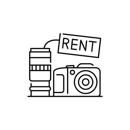 Camera rental olor line icon. Pictogram for web page, mobile app, promo. UI UX GUI design element. Editable stroke.
