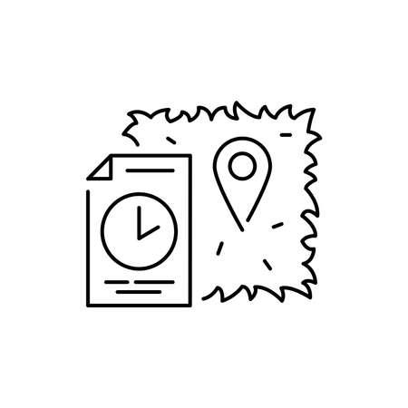 Land rental olor line icon. Pictogram for web page, mobile app, promo. UI UX GUI design element. Editable stroke. 向量圖像