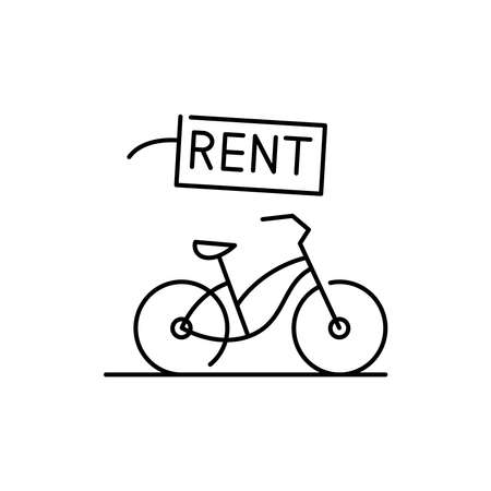 Bicycle rental olor line icon. Pictogram for web page, mobile app, promo. UI UX GUI design element. Editable stroke. 向量圖像