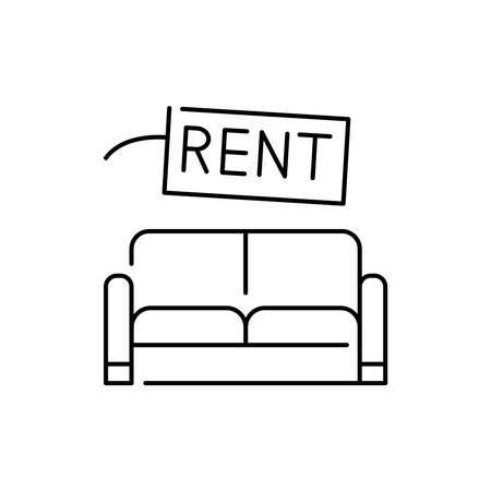 Furniture rental olor line icon. Pictogram for web page, mobile app, promo. UI UX GUI design element. Editable stroke.