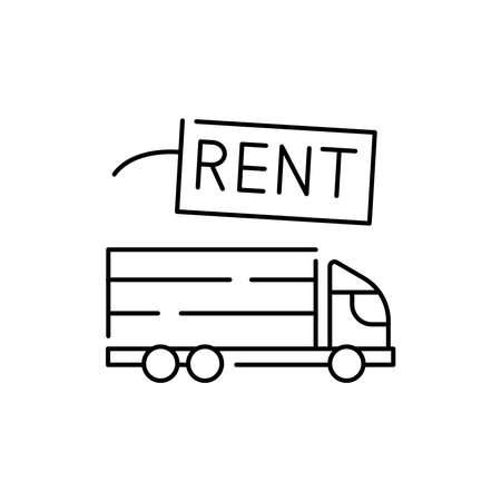 Truck rental olor line icon. Pictogram for web page, mobile app, promo. UI UX GUI design element. Editable stroke. 向量圖像