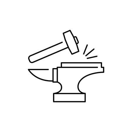 Blacksmith craft olor line icon. Pictogram for web page, mobile app, promo. UI UX GUI design element. Editable stroke.