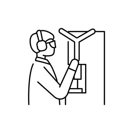Worker uses machine olor line icon. Pictogram for web page, mobile app, promo. UI UX GUI design element. Editable stroke. 向量圖像