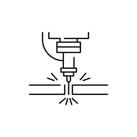 Metal cutting olor line icon. Pictogram for web page, mobile app, promo. UI UX GUI design element. Editable stroke.