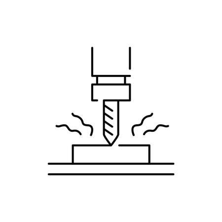 Drilling olor line icon. Pictogram for web page, mobile app, promo. UI UX GUI design element. Editable stroke. 向量圖像