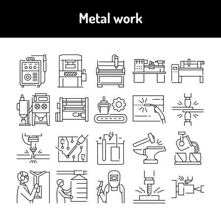 Metal work olor line icon. Pictogram for web page, mobile app, promo. UI UX GUI design element. Editable stroke