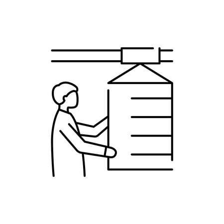 Working man olor line icon. Pictogram for web page, mobile app, promo. UI UX GUI design element. Editable stroke.