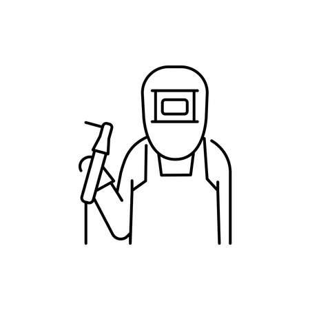 Welder olor line icon. Pictogram for web page, mobile app, promo. UI UX GUI design element. Editable stroke. 向量圖像