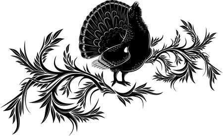 pinstripes: Silhouette of birds on a background of floral ornament Illustration