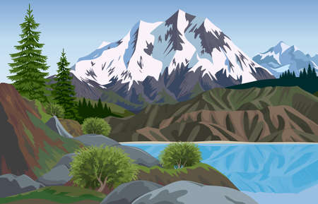 vertices: mountain landscape Illustration