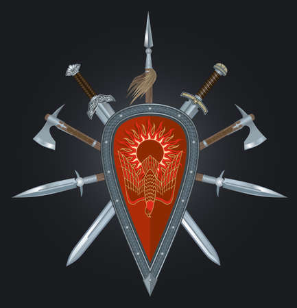 armament: ancient armament of the Russian warrior on a black background. Illustration