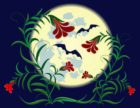 flowers and bats on a background of the full moon Ilustrace