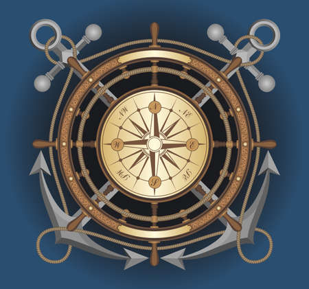 maritime symbol of the wheel on the background of crossed anchors