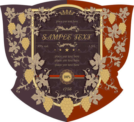 The label in the old style with floral ornaments