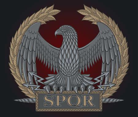 L'emblème de la légion romaine. Aigle sur un fond d'une couronne de laurier.