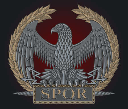 legion: The emblem of the Roman legion. Eagle on a background of a laurel wreath.