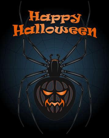 gloomy: Gloomy festive composition with a spider on Halloween